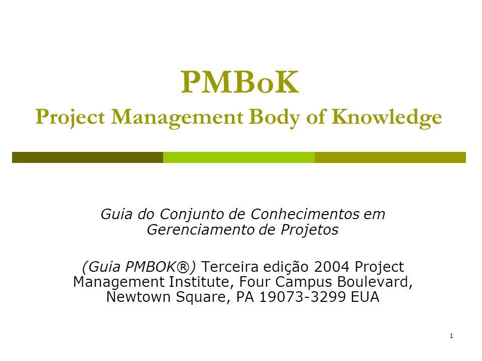 1 PMBoK Project Management Body of Knowledge Guia do Conjunto de Conhecimentos em Gerenciamento de Projetos (Guia PMBOK®) Terceira edição 2004 Project