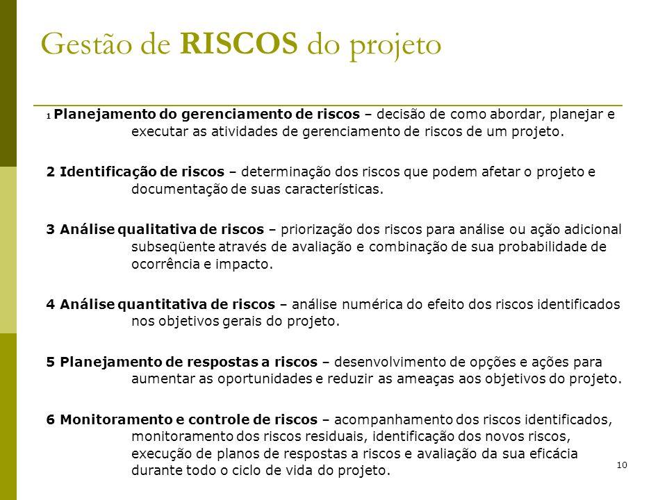 10 Gestão de RISCOS do projeto 1 Planejamento do gerenciamento de riscos – decisão de como abordar, planejar e executar as atividades de gerenciamento