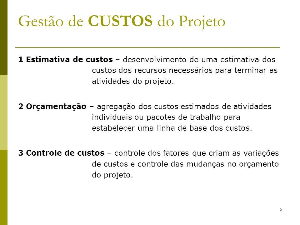 6 1 Estimativa de custos – desenvolvimento de uma estimativa dos custos dos recursos necessários para terminar as atividades do projeto. 2 Orçamentaçã