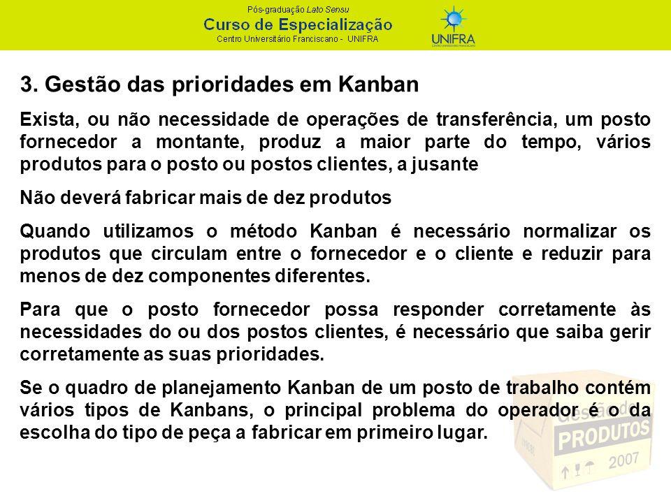 3. Gestão das prioridades em Kanban Exista, ou não necessidade de operações de transferência, um posto fornecedor a montante, produz a maior parte do