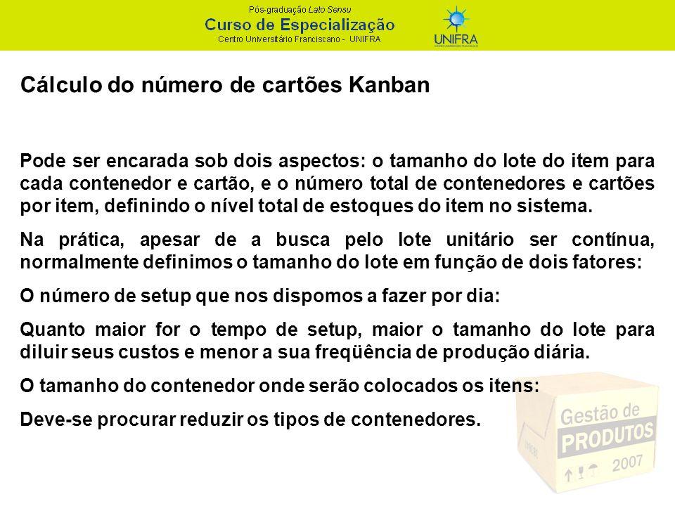 Cálculo do número de cartões Kanban Pode ser encarada sob dois aspectos: o tamanho do lote do item para cada contenedor e cartão, e o número total de