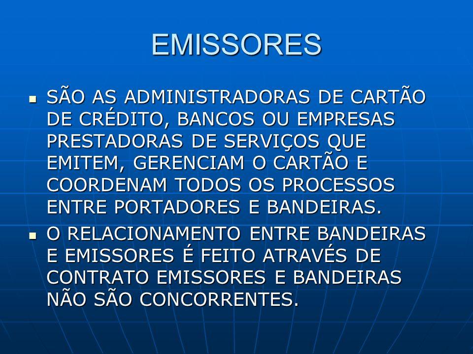 EMISSORES SÃO AS ADMINISTRADORAS DE CARTÃO DE CRÉDITO, BANCOS OU EMPRESAS PRESTADORAS DE SERVIÇOS QUE EMITEM, GERENCIAM O CARTÃO E COORDENAM TODOS OS