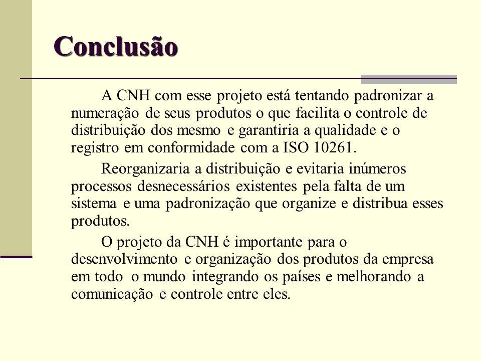 Conclusão A CNH com esse projeto está tentando padronizar a numeração de seus produtos o que facilita o controle de distribuição dos mesmo e garantiri