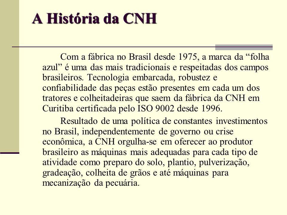 A História da CNH Com a fábrica no Brasil desde 1975, a marca da folha azul é uma das mais tradicionais e respeitadas dos campos brasileiros. Tecnolog
