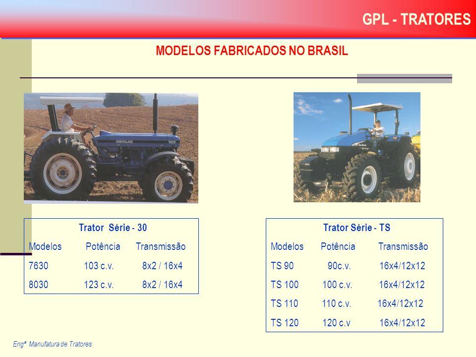 MODELOS FABRICADOS NO BRASIL Trator Série - 30 Modelos Potência Transmissão 7630 103 c.v. 8x2 / 16x4 8030 123 c.v. 8x2 / 16x4 Engª Manufatura de Trato