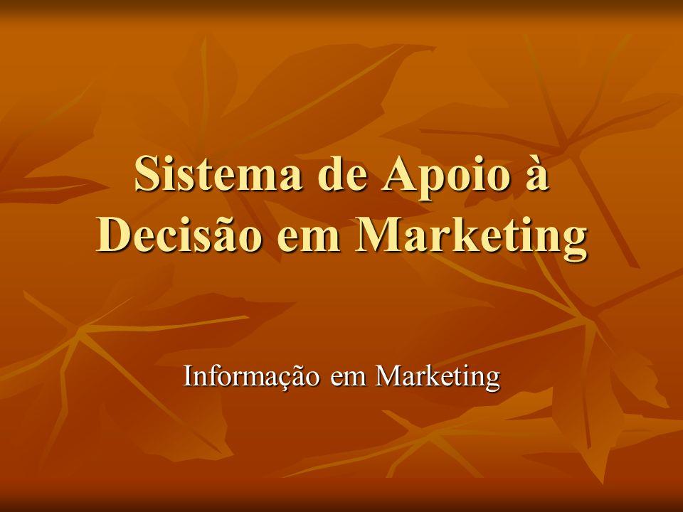 SAD em Marketing Dimensões: Dimensões: - Mercado Potencial – Demografia/segmentos - Clientes - mercado atual: ativos/inativos - Concorrentes – diretos/indiretos - Produtos – vendas/não-vendas/estoques - Ponto-de-venda - desempenhos - Promoções - retornos - Preços – alinhamentos - Pesquisas: mercados/clientes/produtos/