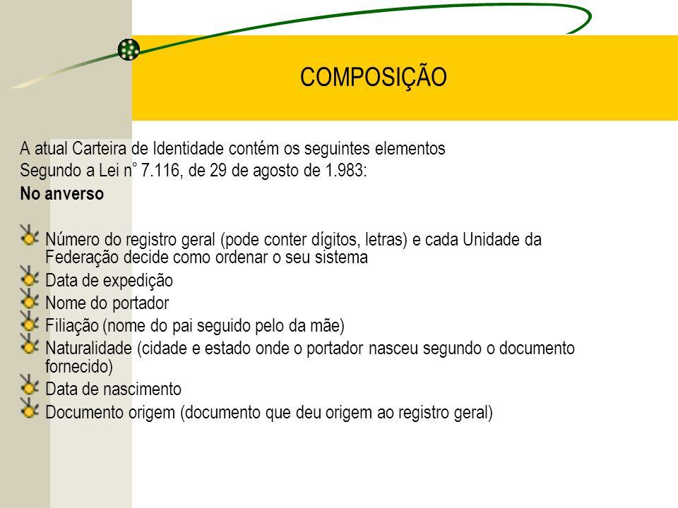COMPOSIÇÃO A atual Carteira de Identidade contém os seguintes elementos Segundo a Lei n° 7.116, de 29 de agosto de 1.983: No anverso Número do registr