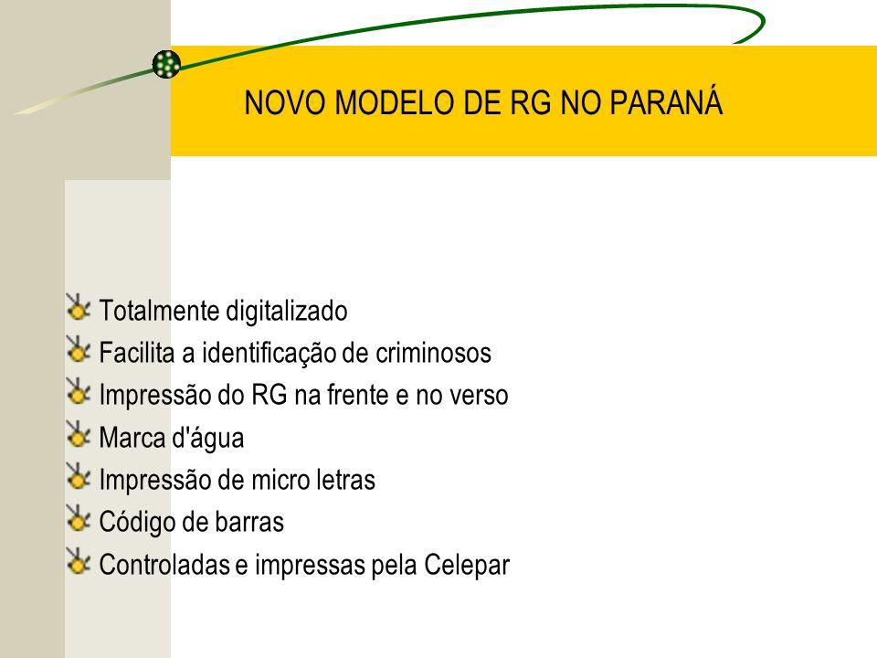 NOVO MODELO DE RG NO PARANÁ Totalmente digitalizado Facilita a identificação de criminosos Impressão do RG na frente e no verso Marca d'água Impressão