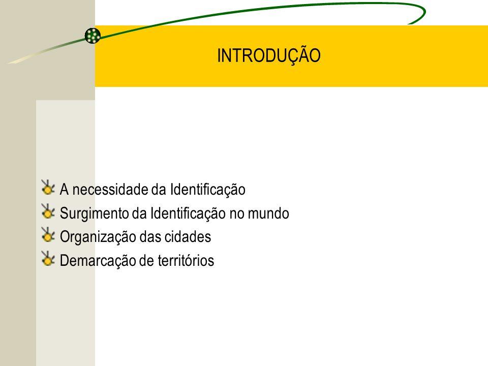 INTRODUÇÃO A necessidade da Identificação Surgimento da Identificação no mundo Organização das cidades Demarcação de territórios