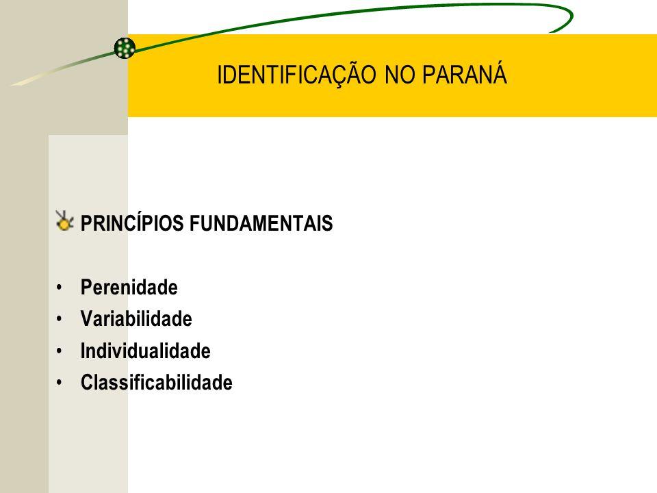 IDENTIFICAÇÃO NO PARANÁ PRINCÍPIOS FUNDAMENTAIS Perenidade Variabilidade Individualidade Classificabilidade