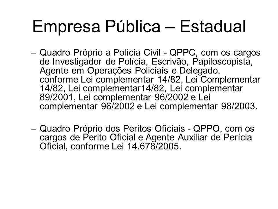 Empresa Pública – Estadual –Quadro Próprio a Polícia Civil - QPPC, com os cargos de Investigador de Polícia, Escrivão, Papiloscopista, Agente em Opera