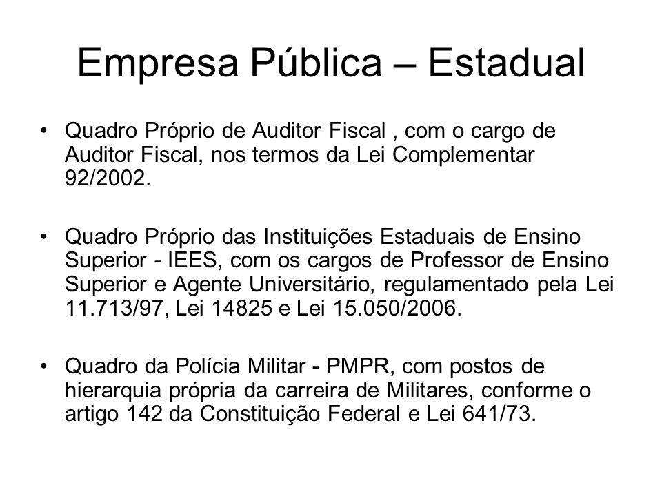 Empresa Pública – Estadual Quadro Próprio de Auditor Fiscal, com o cargo de Auditor Fiscal, nos termos da Lei Complementar 92/2002. Quadro Próprio das