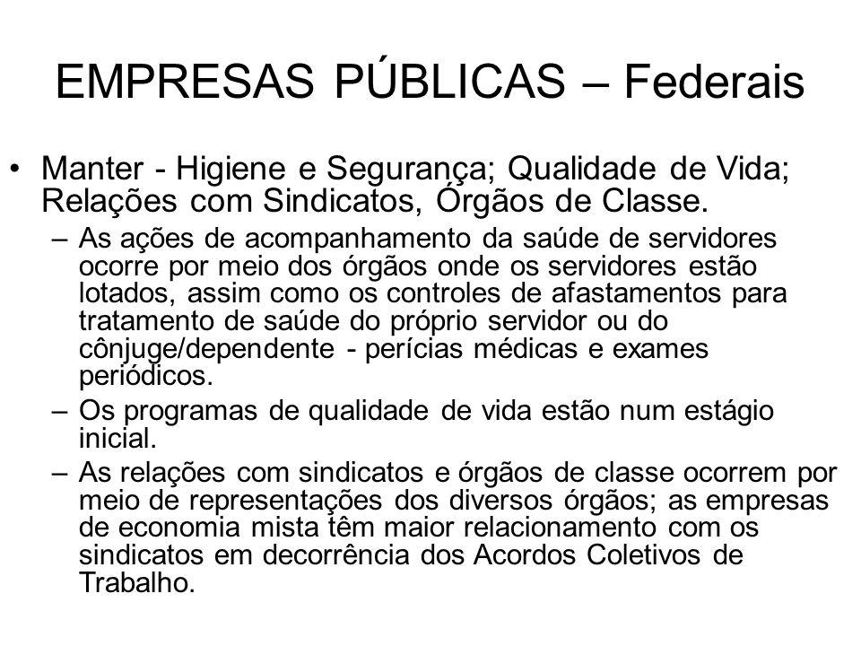 EMPRESAS PÚBLICAS – Federais Manter - Higiene e Segurança; Qualidade de Vida; Relações com Sindicatos, Órgãos de Classe. –As ações de acompanhamento d