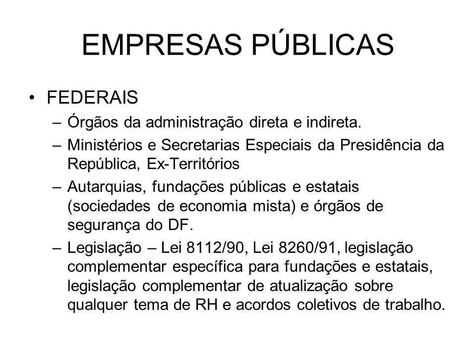EMPRESAS PÚBLICAS FEDERAIS –Órgãos da administração direta e indireta. –Ministérios e Secretarias Especiais da Presidência da República, Ex-Território