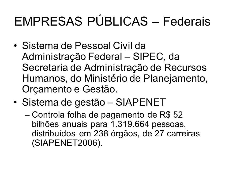 EMPRESAS PÚBLICAS – Federais Sistema de Pessoal Civil da Administração Federal – SIPEC, da Secretaria de Administração de Recursos Humanos, do Ministé