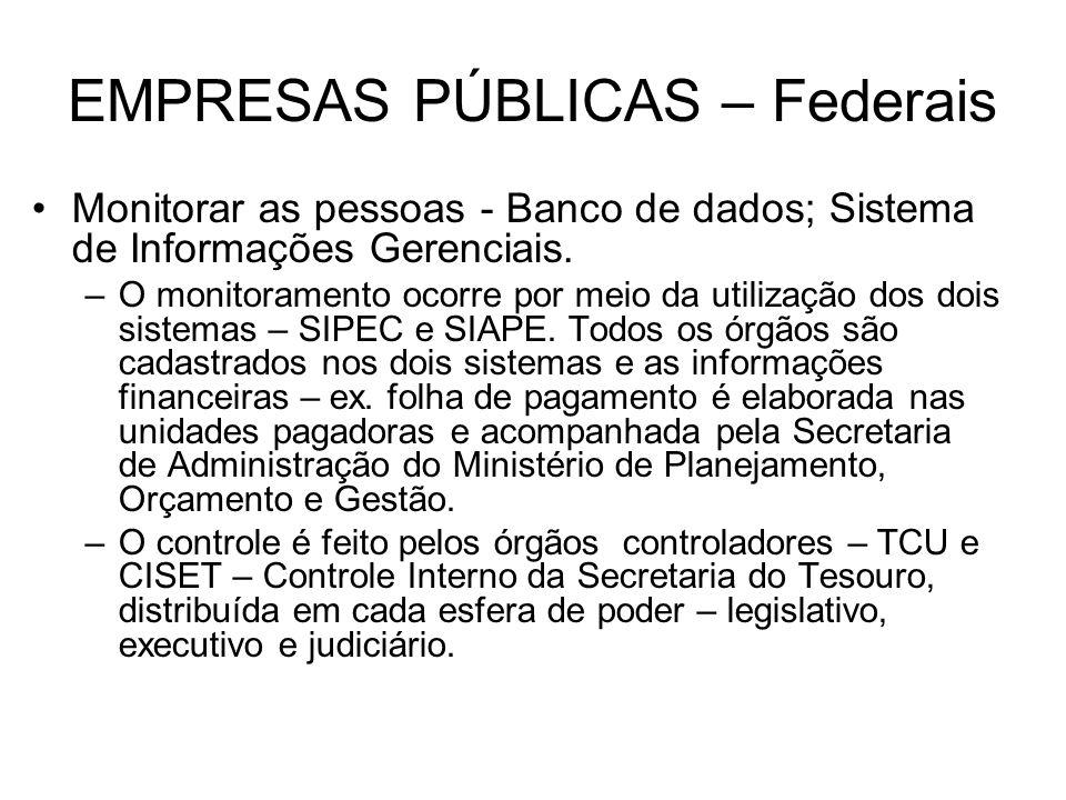 EMPRESAS PÚBLICAS – Federais Monitorar as pessoas - Banco de dados; Sistema de Informações Gerenciais. –O monitoramento ocorre por meio da utilização