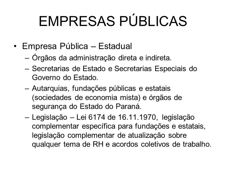 EMPRESAS PÚBLICAS Empresa Pública – Estadual –Órgãos da administração direta e indireta. –Secretarias de Estado e Secretarias Especiais do Governo do