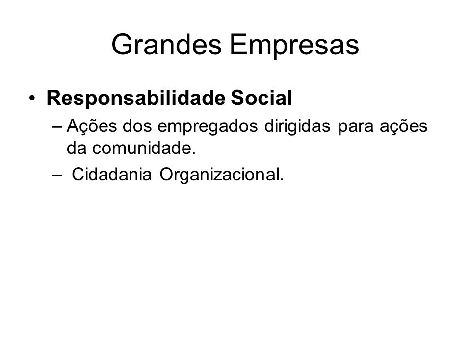 Grandes Empresas Responsabilidade Social –Ações dos empregados dirigidas para ações da comunidade.