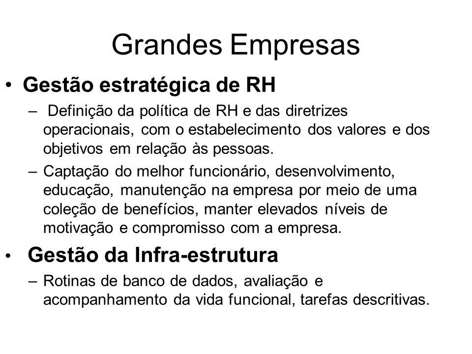 Grandes Empresas Gestão estratégica de RH – Definição da política de RH e das diretrizes operacionais, com o estabelecimento dos valores e dos objetivos em relação às pessoas.