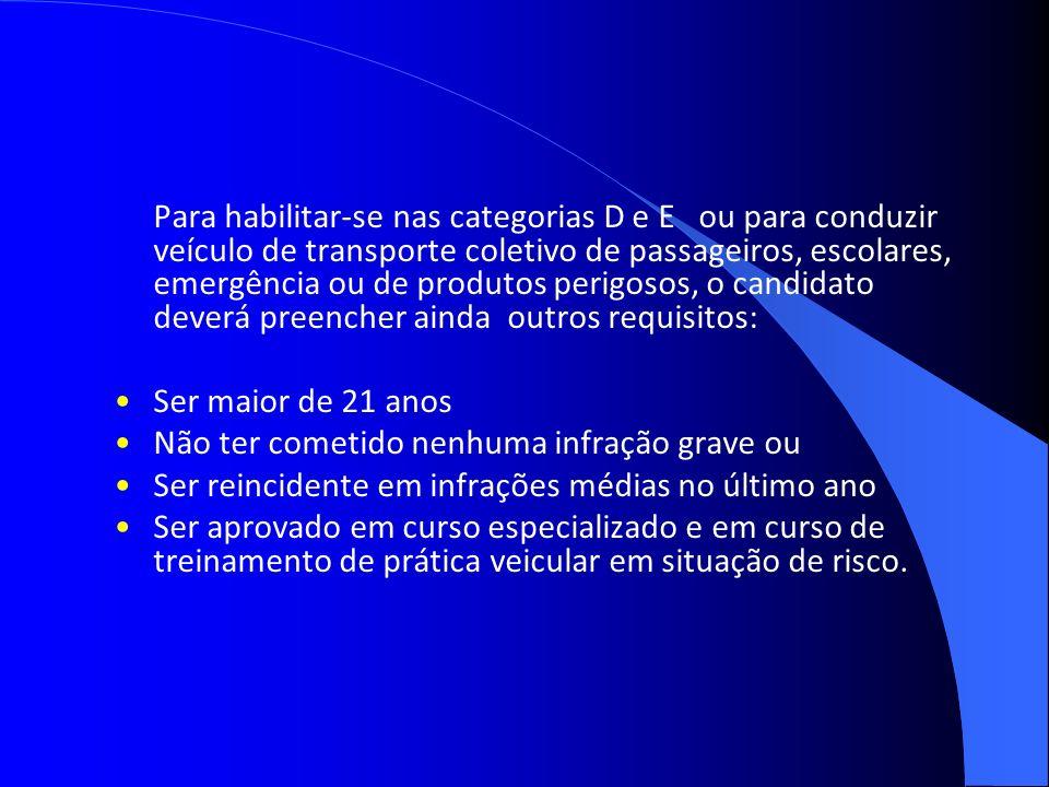 Para habilitar-se nas categorias D e E ou para conduzir veículo de transporte coletivo de passageiros, escolares, emergência ou de produtos perigosos,