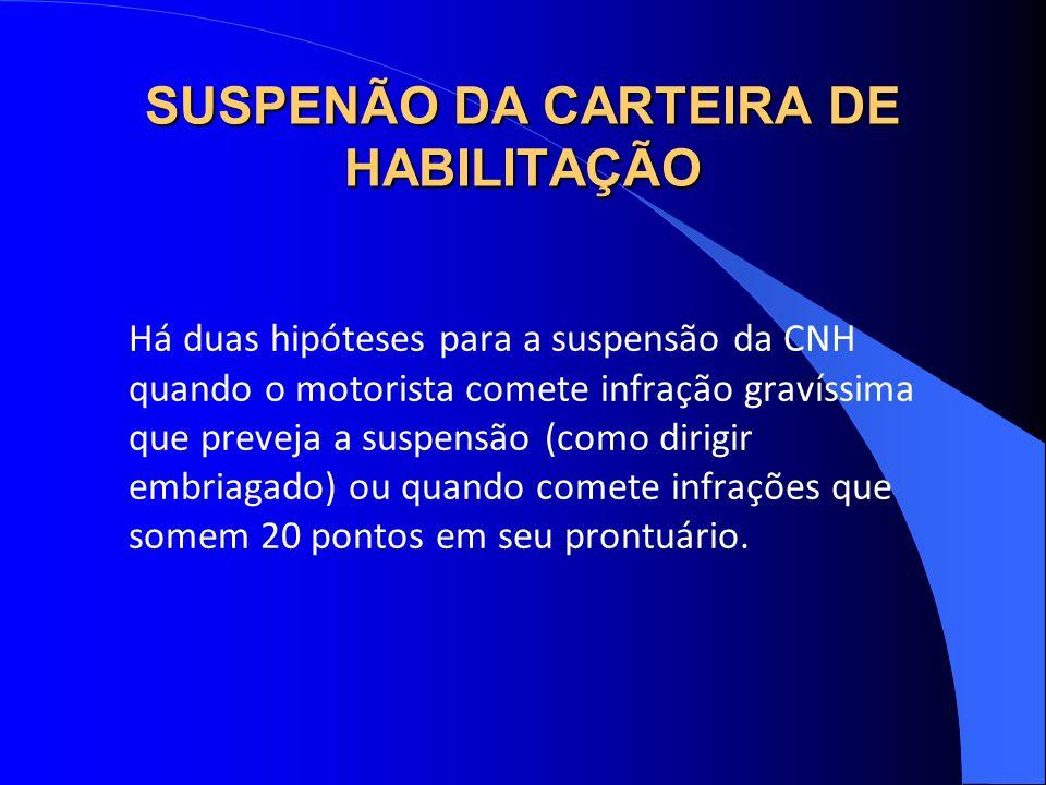 SUSPENÃO DA CARTEIRA DE HABILITAÇÃO Há duas hipóteses para a suspensão da CNH quando o motorista comete infração gravíssima que preveja a suspensão (c