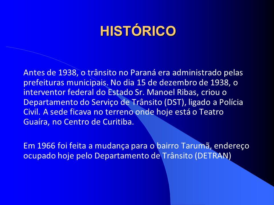 HISTÓRICO Antes de 1938, o trânsito no Paraná era administrado pelas prefeituras municipais. No dia 15 de dezembro de 1938, o interventor federal do E