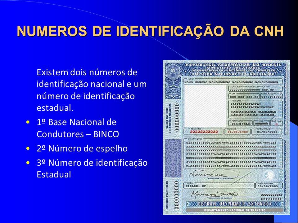 NUMEROS DE IDENTIFICAÇÃO DA CNH Existem dois números de identificação nacional e um número de identificação estadual. 1º Base Nacional de Condutores –