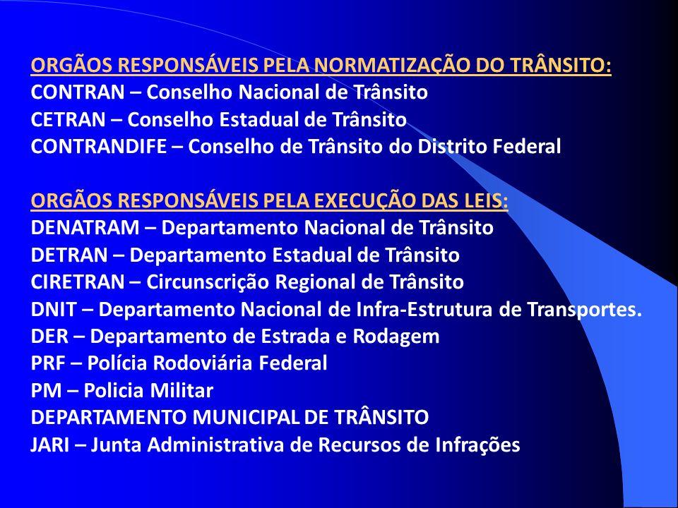 ORGÃOS RESPONSÁVEIS PELA NORMATIZAÇÃO DO TRÂNSITO: CONTRAN – Conselho Nacional de Trânsito CETRAN – Conselho Estadual de Trânsito CONTRANDIFE – Consel