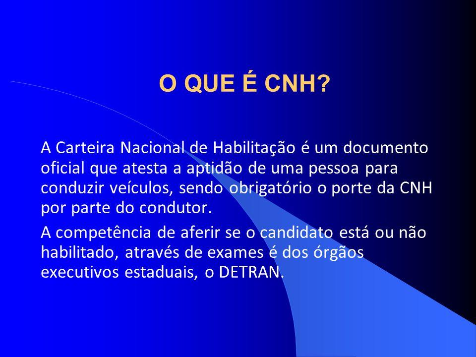 O QUE É CNH? A Carteira Nacional de Habilitação é um documento oficial que atesta a aptidão de uma pessoa para conduzir veículos, sendo obrigatório o