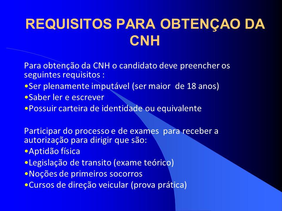 REQUISITOS PARA OBTENÇAO DA CNH Para obtenção da CNH o candidato deve preencher os seguintes requisitos : Ser plenamente imputável (ser maior de 18 an
