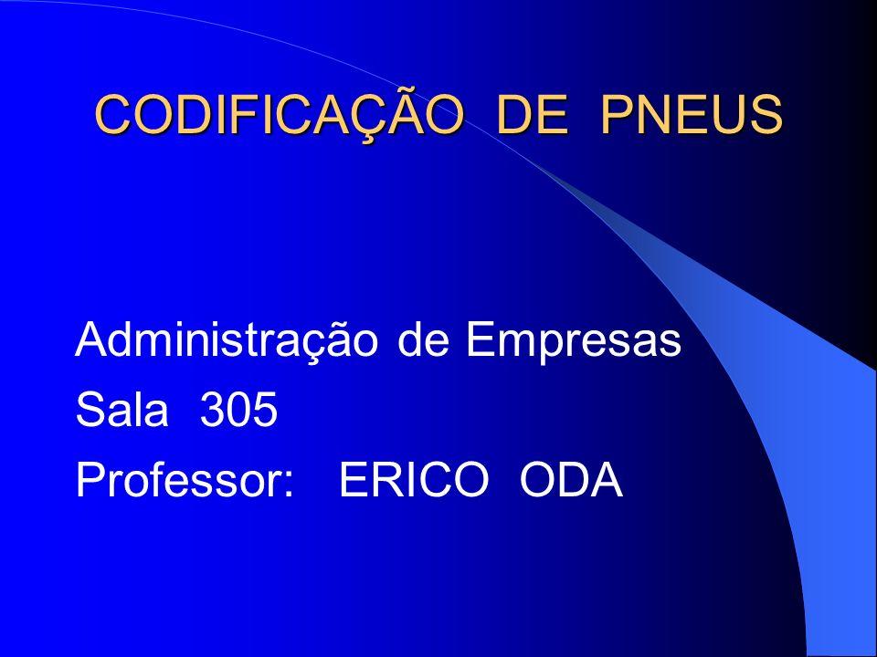 CODIFICAÇÃO DE PNEUS Administração de Empresas Sala 305 Professor: ERICO ODA
