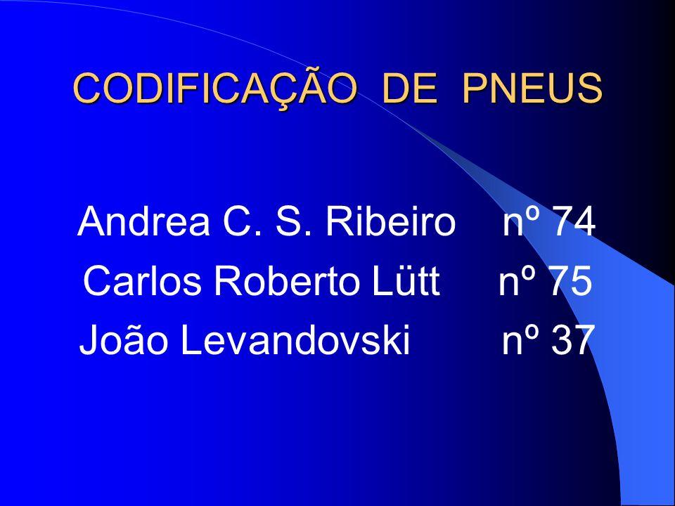 CODIFICAÇÃO DE PNEUS Andrea C. S. Ribeiro nº 74 Carlos Roberto Lütt nº 75 João Levandovski nº 37