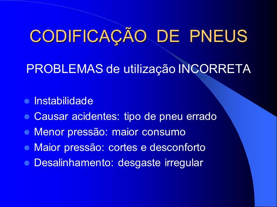 CODIFICAÇÃO DE PNEUS PROBLEMAS de utilização INCORRETA Instabilidade Causar acidentes: tipo de pneu errado Menor pressão: maior consumo Maior pressão: