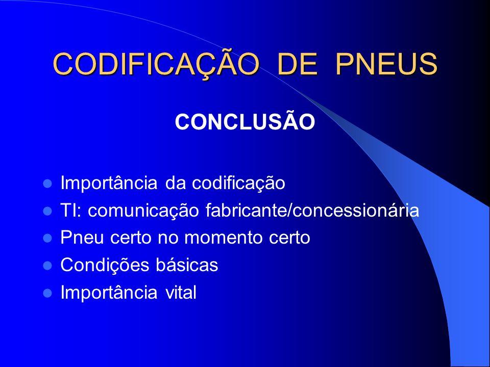CODIFICAÇÃO DE PNEUS CONCLUSÃO Importância da codificação TI: comunicação fabricante/concessionária Pneu certo no momento certo Condições básicas Impo