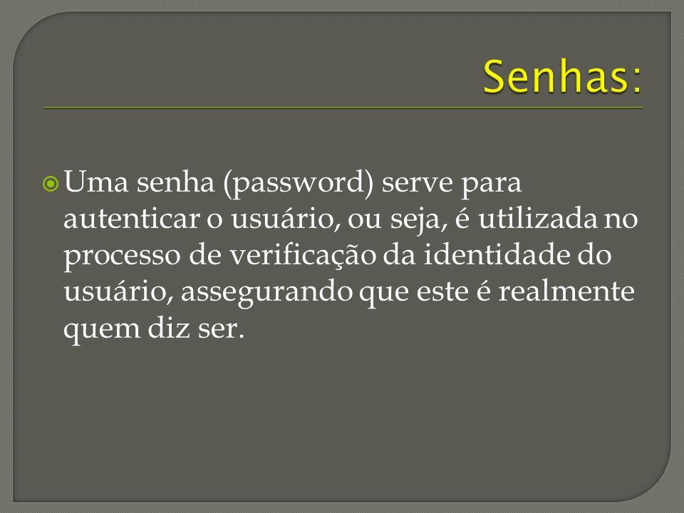Uma senha (password) serve para autenticar o usuário, ou seja, é utilizada no processo de verificação da identidade do usuário, assegurando que este é realmente quem diz ser.