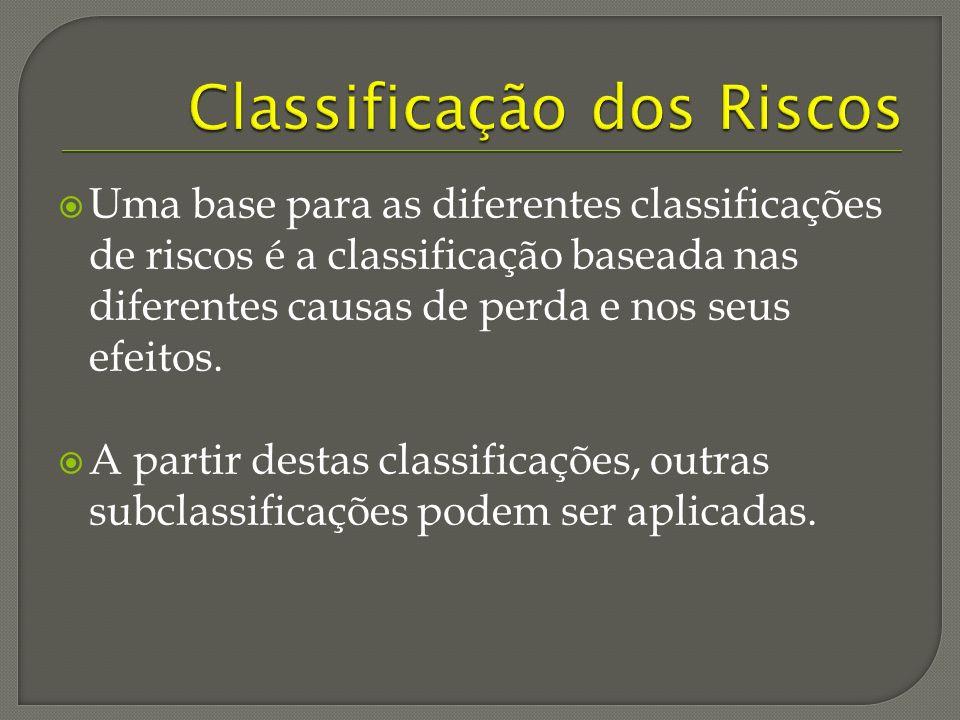 Uma base para as diferentes classificações de riscos é a classificação baseada nas diferentes causas de perda e nos seus efeitos.