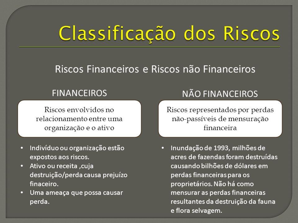 Riscos envolvidos no relacionamento entre uma organização e o ativo Riscos representados por perdas não-passíveis de mensuração financeira FINANCEIROS NÃO FINANCEIROS Indivíduo ou organização estão expostos aos riscos.