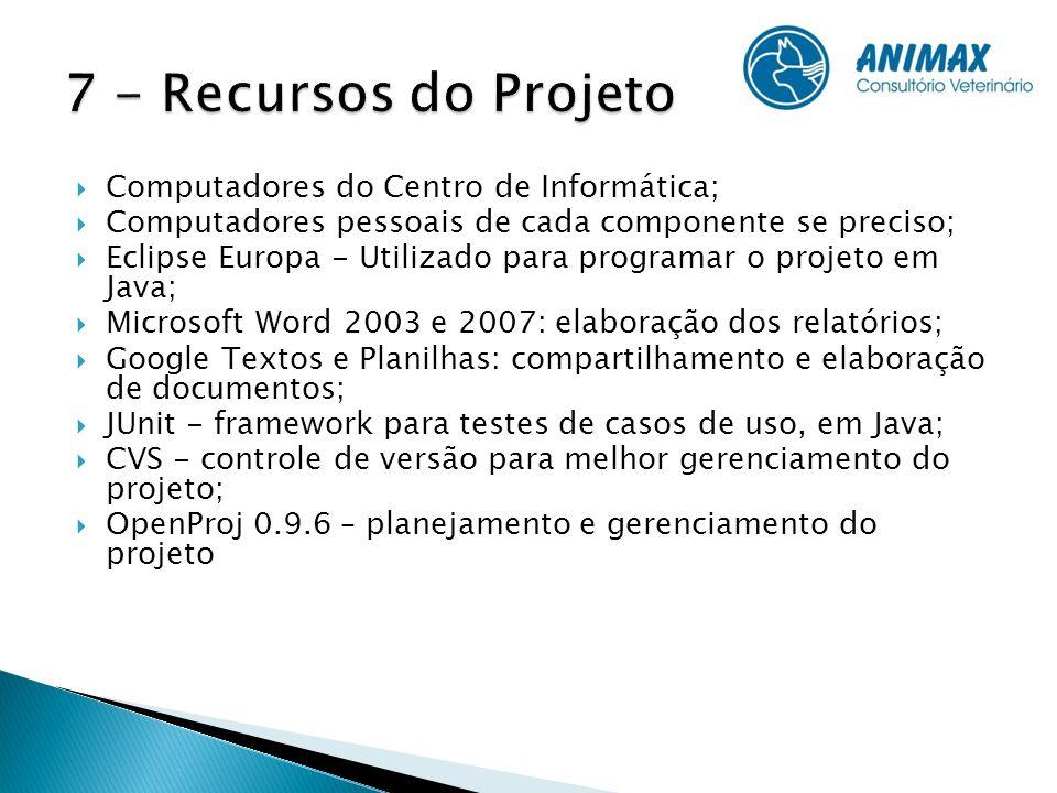 Computadores do Centro de Informática; Computadores pessoais de cada componente se preciso; Eclipse Europa - Utilizado para programar o projeto em Jav