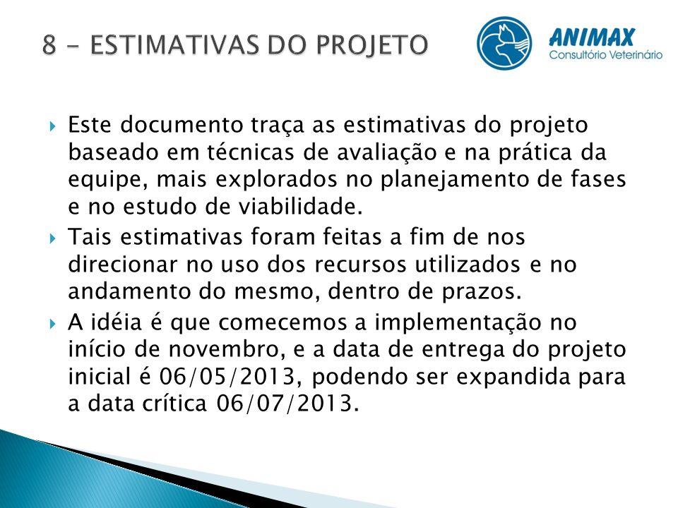 Este documento traça as estimativas do projeto baseado em técnicas de avaliação e na prática da equipe, mais explorados no planejamento de fases e no