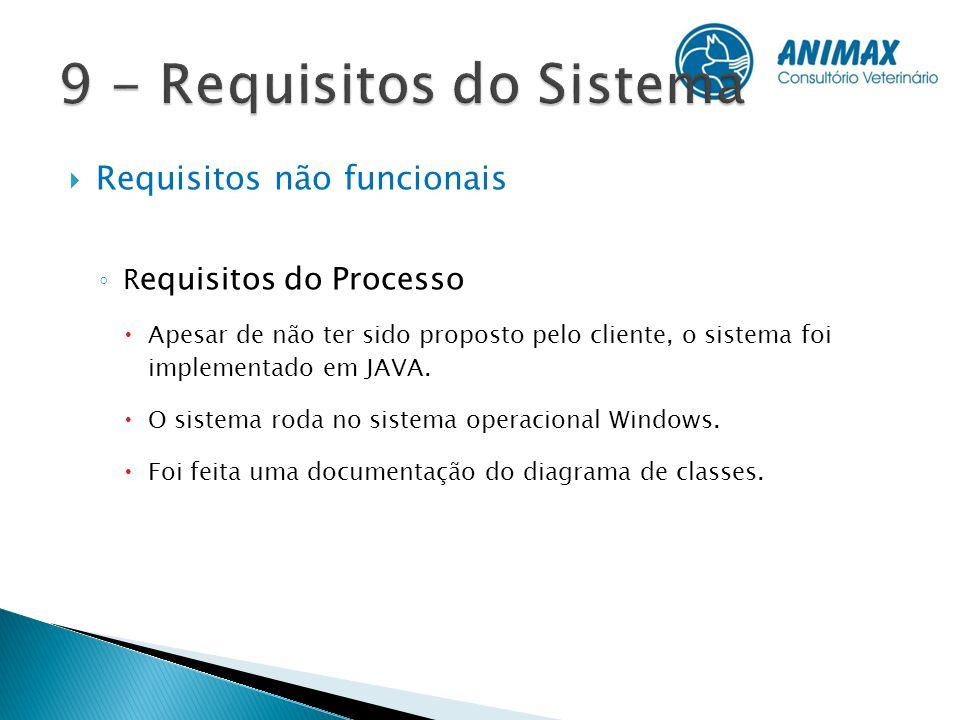 Requisitos não funcionais R equisitos do Processo Apesar de não ter sido proposto pelo cliente, o sistema foi implementado em JAVA. O sistema roda no