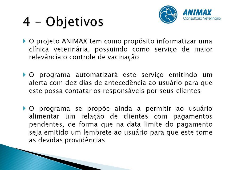O projeto ANIMAX tem como propósito informatizar uma clínica veterinária, possuindo como serviço de maior relevância o controle de vacinação O program