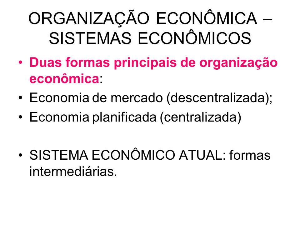 ORGANIZAÇÃO ECONÔMICA – SISTEMAS ECONÔMICOS Duas formas principais de organização econômica: Economia de mercado (descentralizada); Economia planifica
