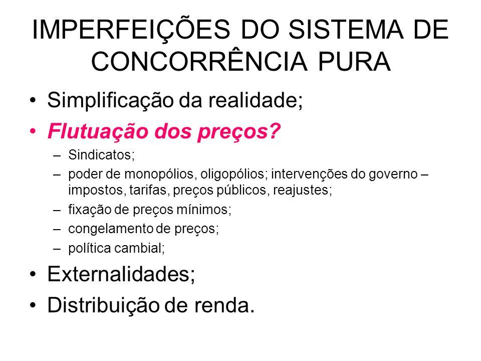 IMPERFEIÇÕES DO SISTEMA DE CONCORRÊNCIA PURA Simplificação da realidade; Flutuação dos preços? –Sindicatos; –poder de monopólios, oligopólios; interve