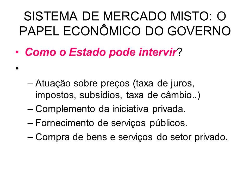 SISTEMA DE MERCADO MISTO: O PAPEL ECONÔMICO DO GOVERNO Como o Estado pode intervir? –Atuação sobre preços (taxa de juros, impostos, subsídios, taxa de
