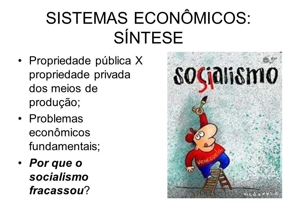SISTEMAS ECONÔMICOS: SÍNTESE Propriedade pública X propriedade privada dos meios de produção; Problemas econômicos fundamentais; Por que o socialismo