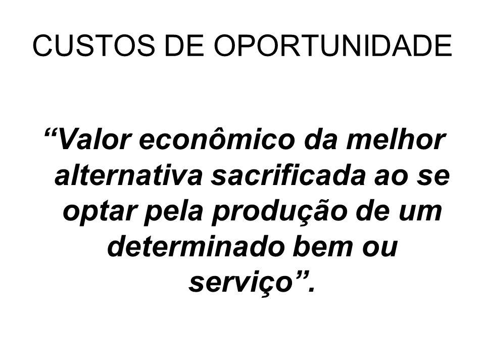 CUSTOS DE OPORTUNIDADE Valor econômico da melhor alternativa sacrificada ao se optar pela produção de um determinado bem ou serviço.
