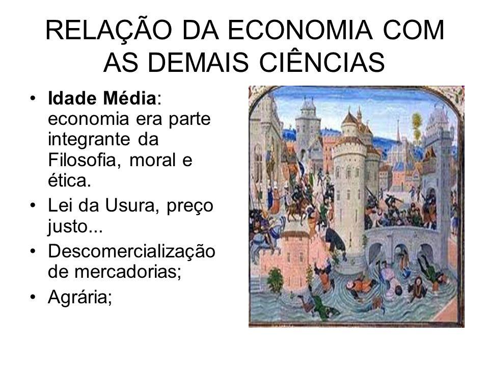 RELAÇÃO DA ECONOMIA COM AS DEMAIS CIÊNCIAS Idade Média: economia era parte integrante da Filosofia, moral e ética. Lei da Usura, preço justo... Descom