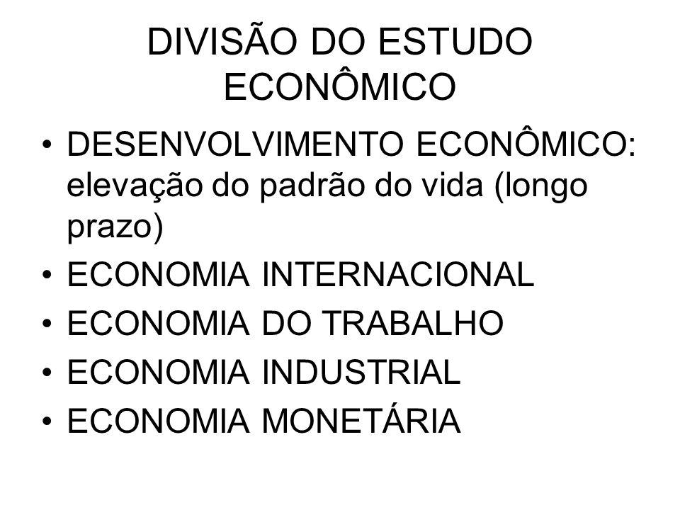 DIVISÃO DO ESTUDO ECONÔMICO DESENVOLVIMENTO ECONÔMICO: elevação do padrão do vida (longo prazo) ECONOMIA INTERNACIONAL ECONOMIA DO TRABALHO ECONOMIA I