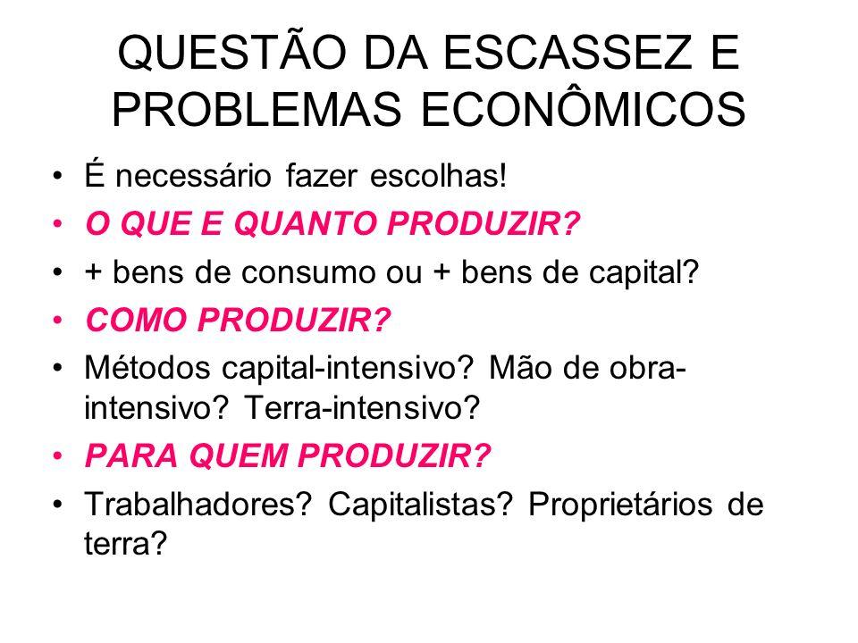 QUESTÃO DA ESCASSEZ E PROBLEMAS ECONÔMICOS É necessário fazer escolhas! O QUE E QUANTO PRODUZIR? + bens de consumo ou + bens de capital? COMO PRODUZIR