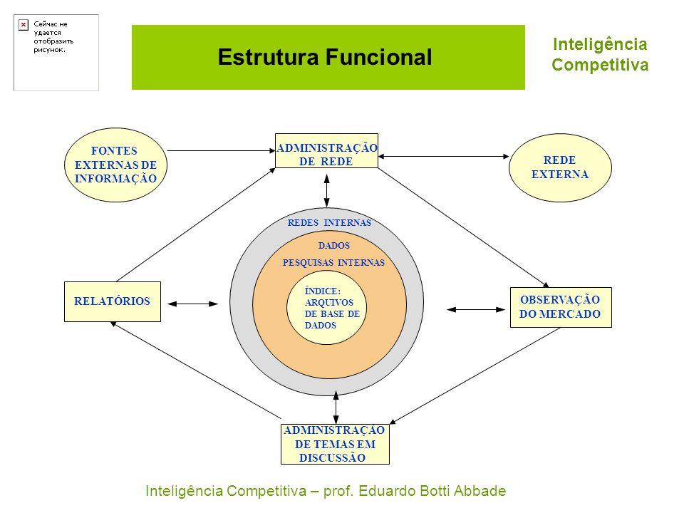 Estrutura Funcional OBSERVAÇÃO DO MERCADO RELATÓRIOS ADMINISTRAÇÃO DE TEMAS EM DISCUSSÃO FONTES EXTERNAS DE INFORMAÇÃO REDE EXTERNA ADMINISTRAÇÃO DE R
